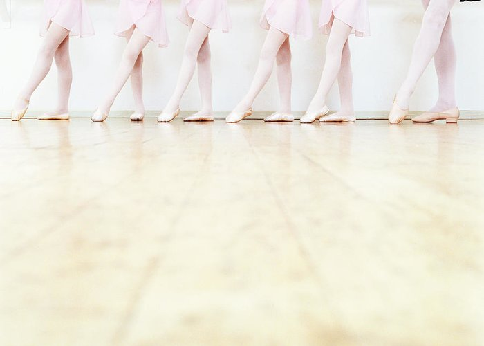 Ballet Dancer Greeting Card featuring the photograph Low Section View Of A Line Of Young by Digital Vision.