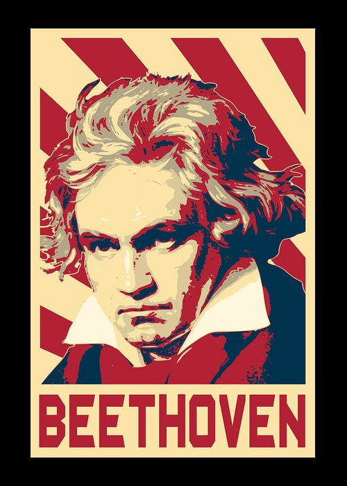 Beethoven Greeting Card featuring the digital art Ludwig Van Beethoven Retro Propaganda by Filip Hellman