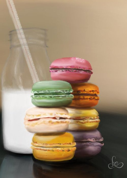 Macaroons Greeting Card featuring the pastel Macaroons by Fe Jones