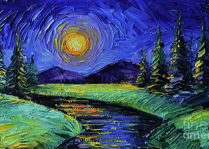 Magic Night Greeting Card featuring the painting Magic Night - Detail 1 - Fantasy Landscape by Mona Edulesco