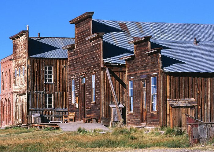 Grass Greeting Card featuring the photograph Main Street Buildings At Bodie Historic by John Elk Iii