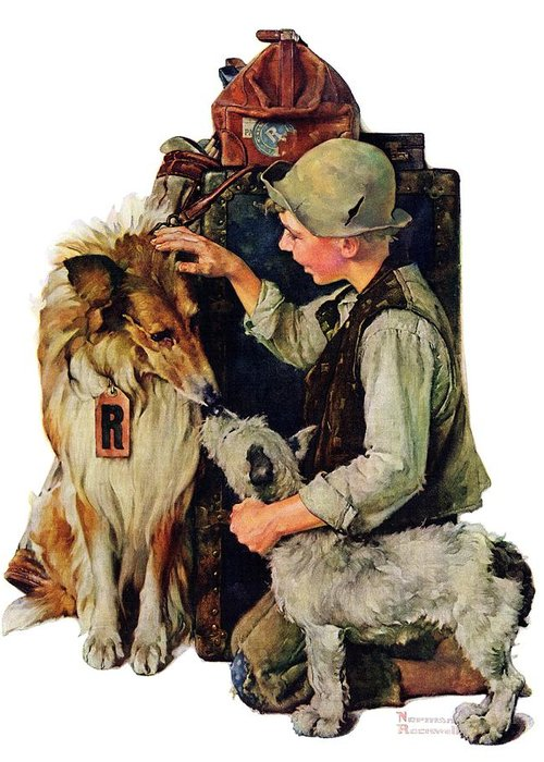 Boy Greeting Card featuring the drawing Making Friends by Norman Rockwell