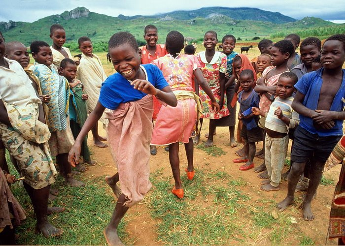 Human Settlement Greeting Card featuring the photograph Malawi,mapira Refugee Camp,children by Penny Tweedie