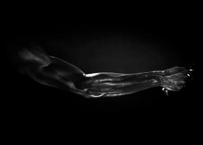 Human Arm Greeting Card featuring the photograph Man Holding Tennis Racket, B&w Digital by Hans Neleman