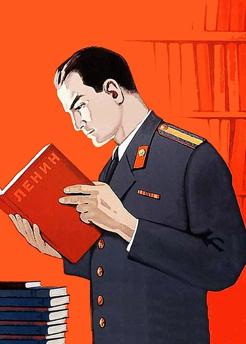 Man Greeting Card featuring the digital art Man Is Reading Lenin Books by Long Shot