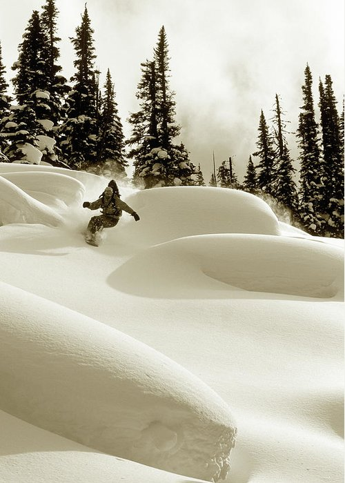 One Man Only Greeting Card featuring the photograph Man Snowboarding B&w Sepia Tone by Per Breiehagen