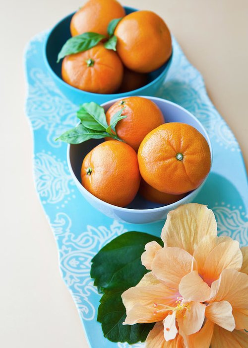 Florida Greeting Card featuring the photograph Mandarin Oranges On A Platter by Pam Mclean