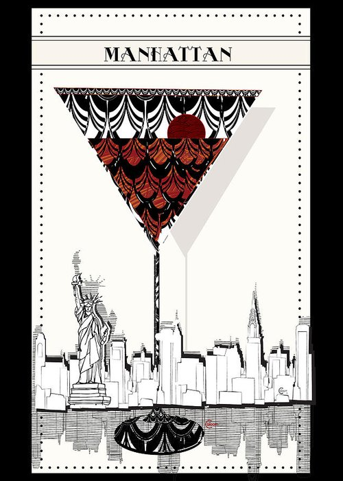 Manhattan Cocktail Pop Art Deco Greeting Card For Sale By Cecely Bloom