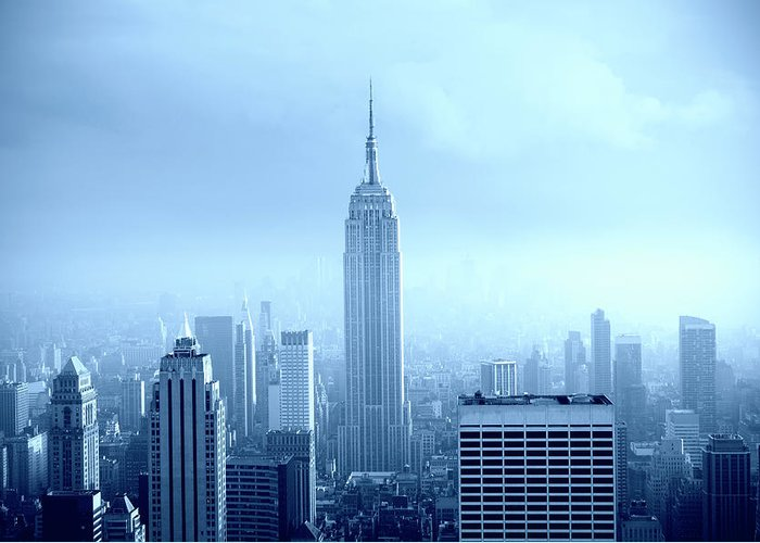 Lower Manhattan Greeting Card featuring the photograph Manhattan Skyline In The Fog, Nyc. Blue by Lisa-blue