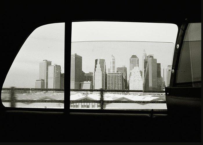 Car Interior Greeting Card featuring the photograph Manhattan Through Car Window by Matt Carr