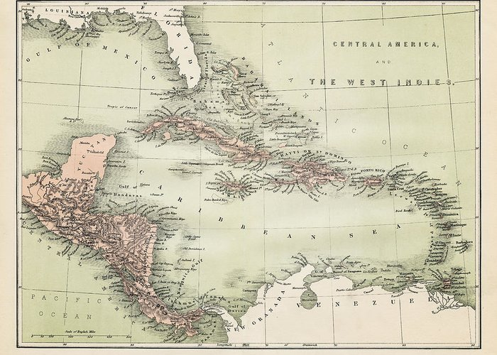 Barbados Greeting Card featuring the digital art Map Od The Caribbean 1860 by Thepalmer