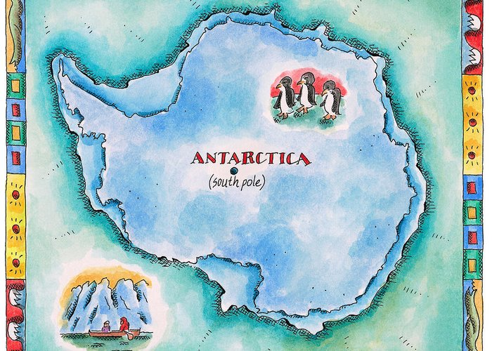 Watercolor Painting Greeting Card featuring the digital art Map Of Antarctica by Jennifer Thermes