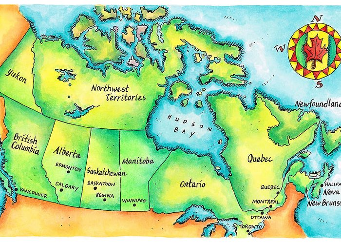 Watercolor Painting Greeting Card featuring the digital art Map Of Canada by Jennifer Thermes