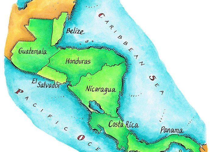 Watercolor Painting Greeting Card featuring the digital art Map Of Central America by Jennifer Thermes