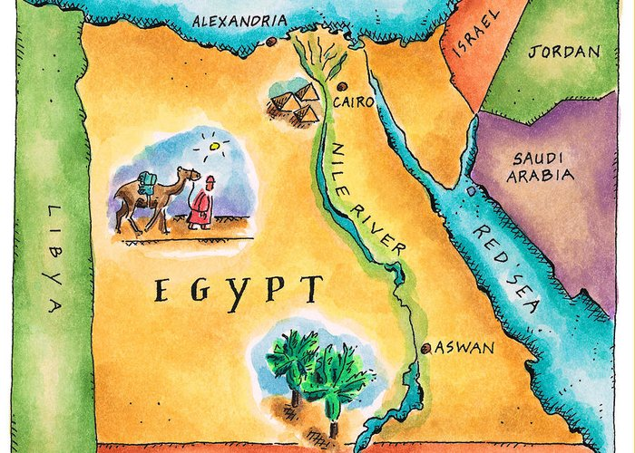 Watercolor Painting Greeting Card featuring the digital art Map Of Egypt by Jennifer Thermes