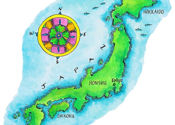 Hokkaido Greeting Card featuring the digital art Map Of Japan by Jennifer Thermes