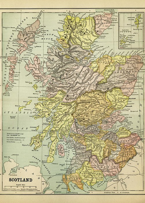 Vertical Greeting Card featuring the digital art Map Of Scotland 1883 by Thepalmer