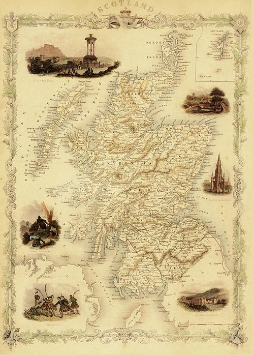Journey Greeting Card featuring the digital art Map Of Scotland From 1851 by Nicoolay