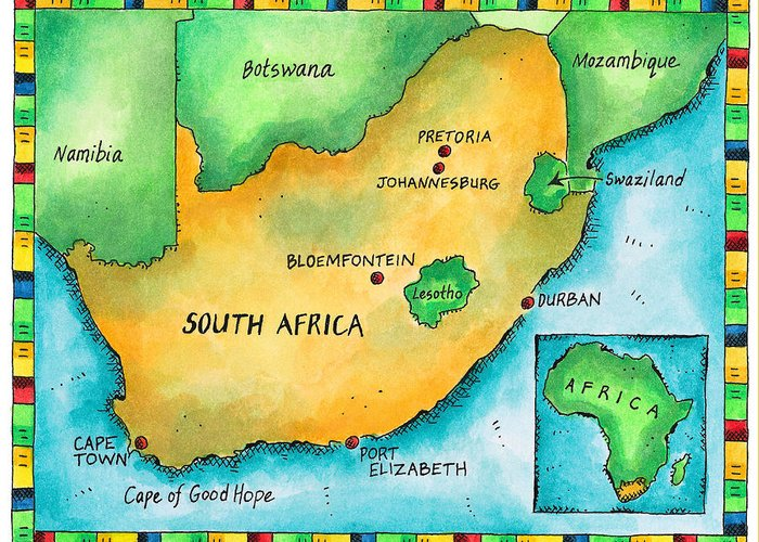 Watercolor Painting Greeting Card featuring the digital art Map Of South Africa by Jennifer Thermes