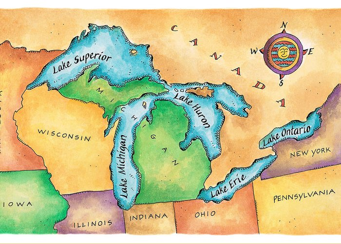 Lake Michigan Greeting Card featuring the digital art Map Of The Great Lakes by Jennifer Thermes