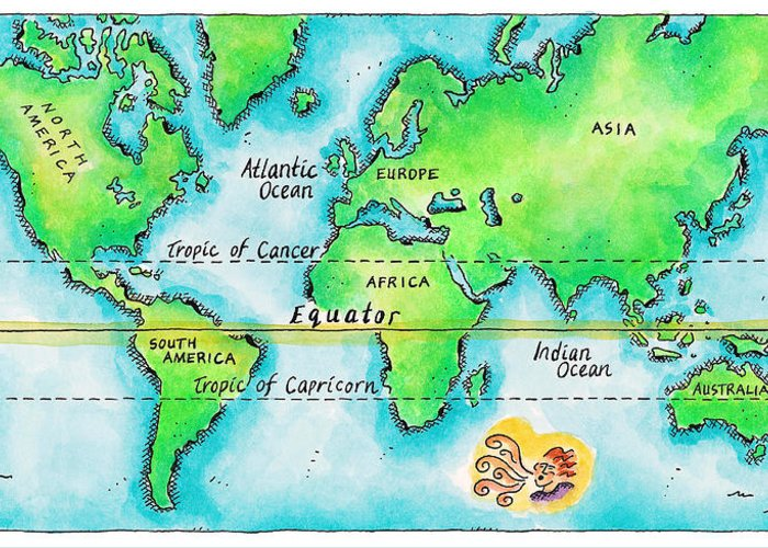 Watercolor Painting Greeting Card featuring the digital art Map Of The World & Equator by Jennifer Thermes