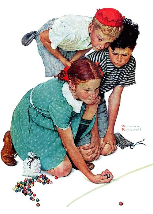 Boys Greeting Card featuring the drawing Marbles Champ by Norman Rockwell
