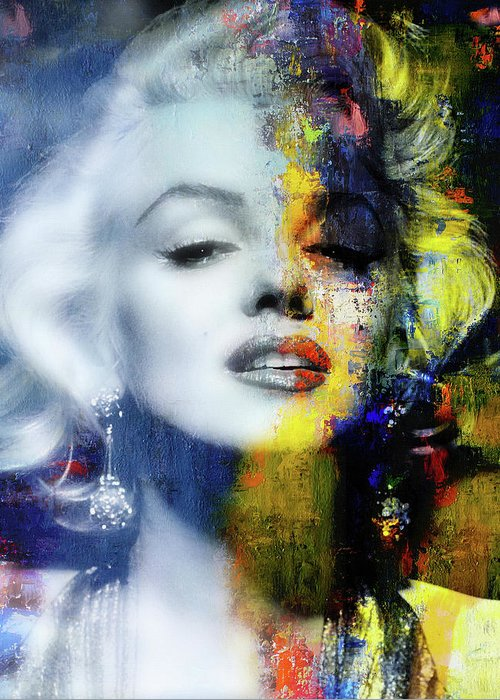 Marilyn Greeting Card featuring the mixed media Marilyn Duality by Mal Bray