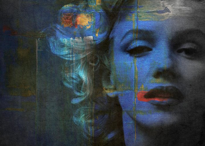 Monroe Greeting Card featuring the mixed media Marilyn Monroe - Retro by Paul Lovering