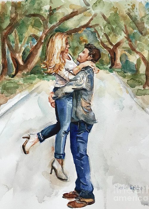 Engaged Greeting Card featuring the painting Marry Me by Maria Reichert