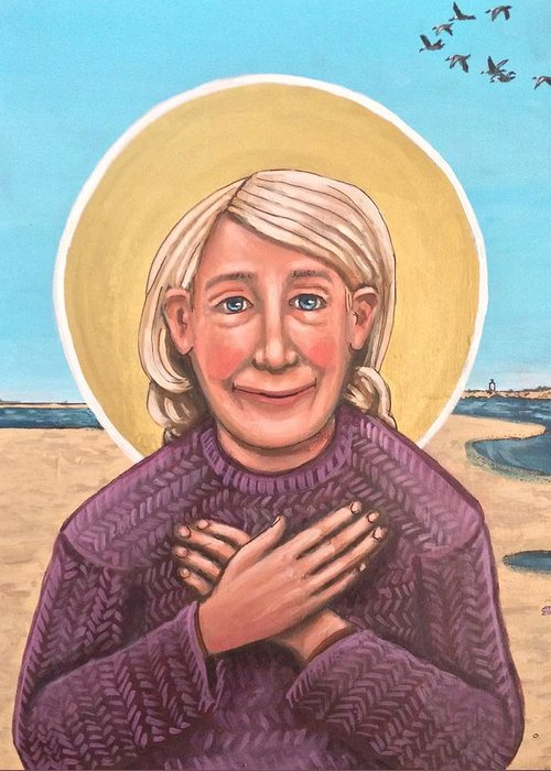 Greeting Card featuring the painting Mary Oliver by Kelly Latimore