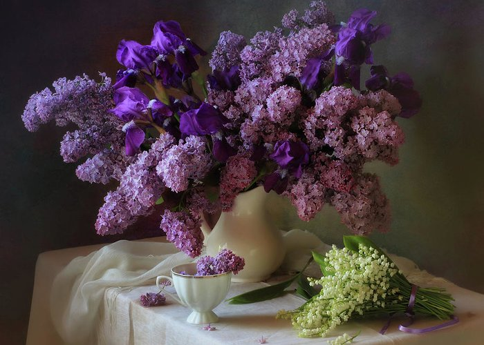 Purple Greeting Card featuring the photograph May Bouquets by Tatyana Skorokhod (???????