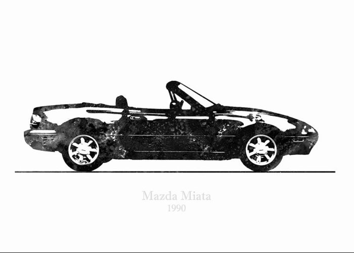 Mazda Miata MX-5 1990 Black and White Illustration