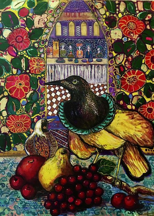 Crow Greeting Card featuring the painting Medieval dinner by Marilene Sawaf