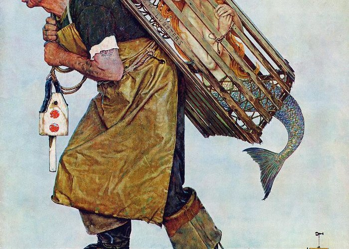 Lobsterman Greeting Card featuring the drawing Mermaid by Norman Rockwell