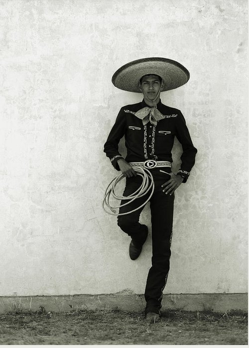 Cool Attitude Greeting Card featuring the photograph Mexican Cowboy Wearing Hat And Holding by Terry Vine