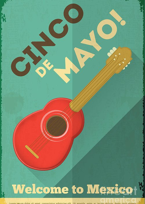 Country Greeting Card featuring the digital art Mexican Guitar. Posters In Retro Style by Vector Posters And Cards