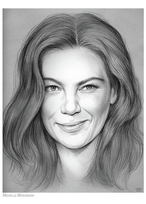 Michelle Monaghan Greeting Card featuring the drawing Michelle Monaghan by Greg Joens