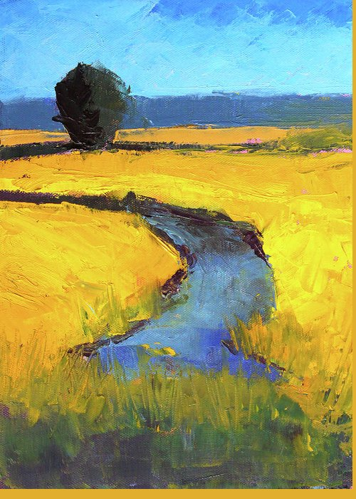 Yellow Landscape Greeting Card featuring the painting Mid July by Nancy Merkle