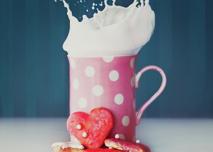 Milk Greeting Card featuring the photograph Milk And Heart Shape Cookies by Julia Davila-lampe