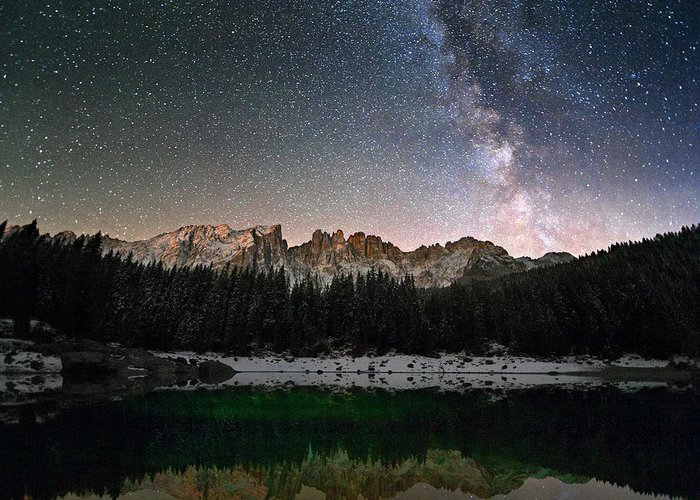 Scenics Greeting Card featuring the photograph Milky Way In The Alps by Scacciamosche