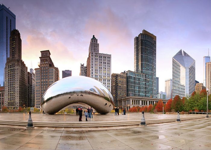 Dawn Greeting Card featuring the photograph Millennium Park, Chicago, Illinois,usa by Travelpix Ltd