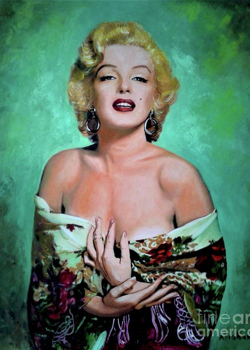 Woman Greeting Card featuring the painting M.Monroe 4 by Jose Manuel Abraham