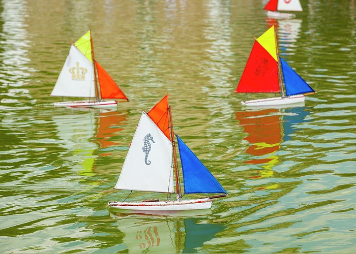 Sailboat Greeting Card featuring the photograph Model Sailboats In Pond, Paris by Stuart Dee