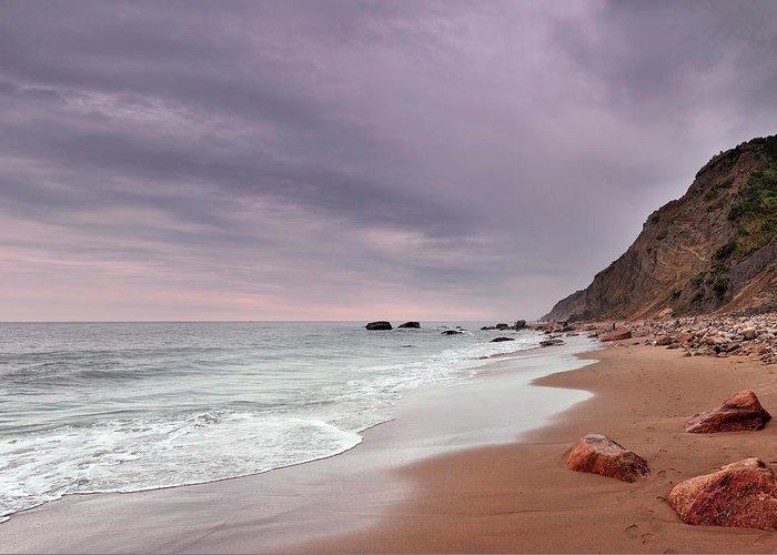 Water's Edge Greeting Card featuring the photograph Mohegan Bluffs Beach- Block Island by Shobeir Ansari