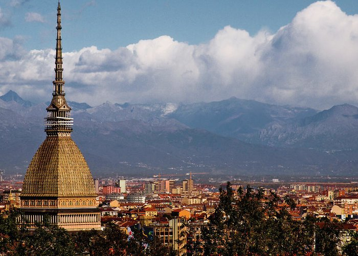 Built Structure Greeting Card featuring the photograph Mole Antonelliana, Torino And Alps by Rodolfo Rodríguez Castro