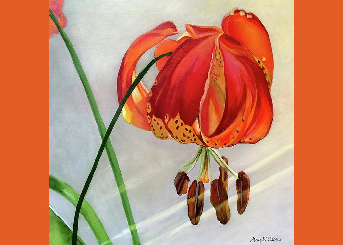Painting Greeting Card featuring the painting Moment in the Sun - Lily by Mary Chant