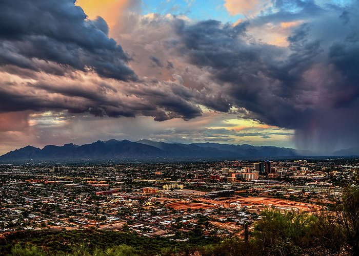 Tucson Greeting Card featuring the photograph Monsoon Hits Tucson by Chance Kafka