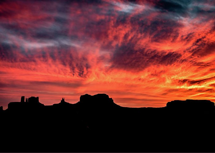 Monument Valley Greeting Card featuring the photograph Monument Valley Mile 13 Sunset by William Christiansen