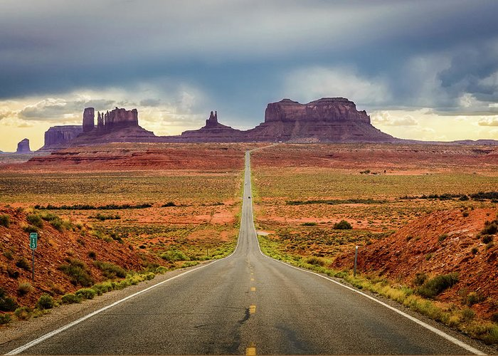 Scenics Greeting Card featuring the photograph Monument Valley by Posnov