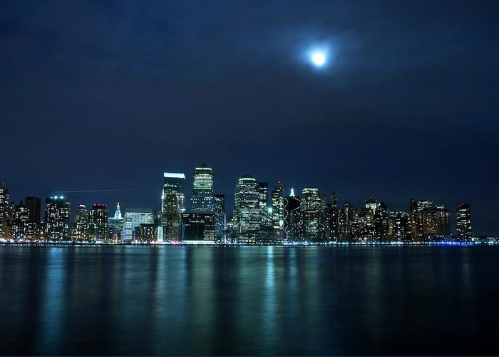Lower Manhattan Greeting Card featuring the photograph Moon Light Over New York City by Brandonj74